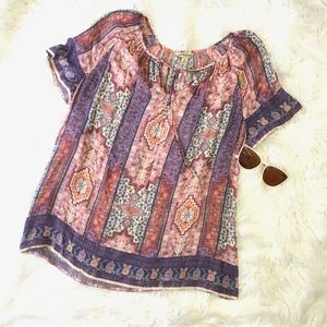Lucky Brand Pink Purple Floaty Tunic Blouse Medium